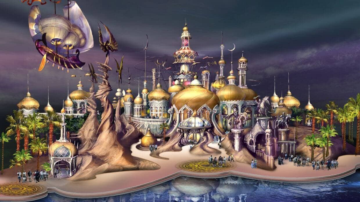 Concept art from Sahara Kingdom, a theme park and integrated resort in Dubai.