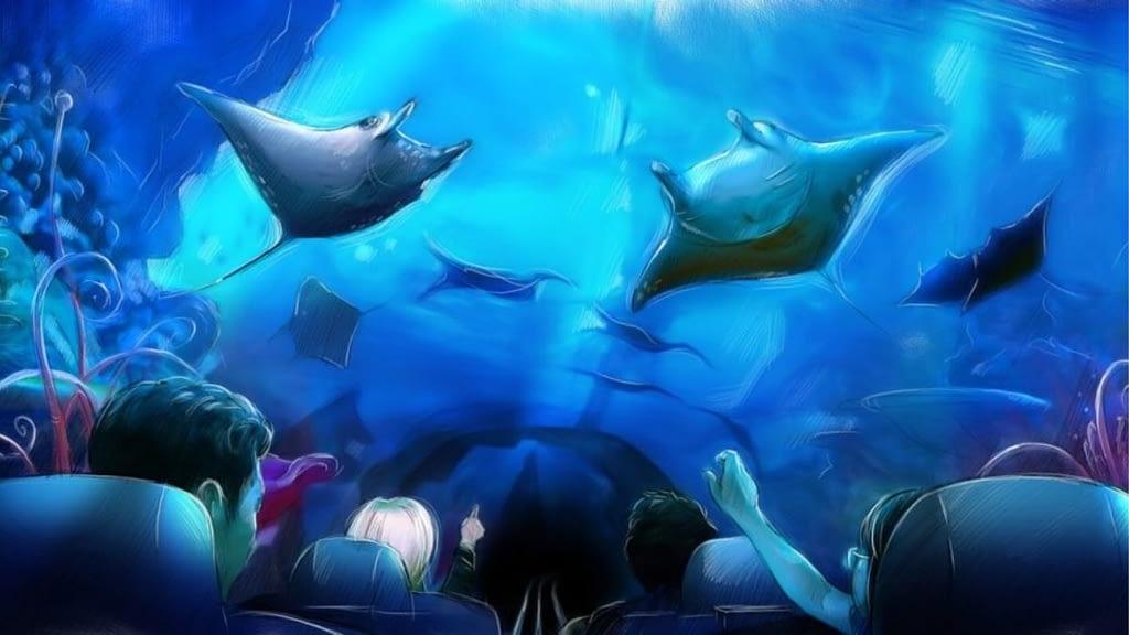 Manta Roller Coaster Media Tunnel at SeaWorld Concept Design