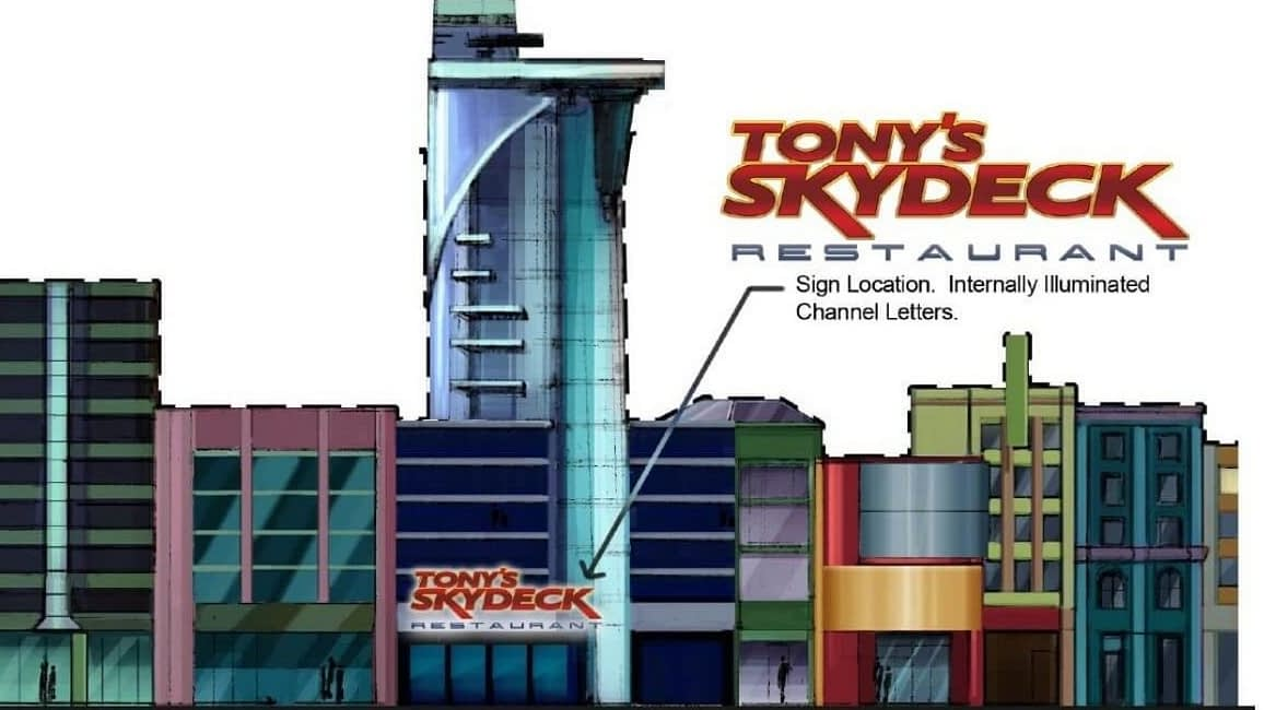 Tony's Skydeck Restaurant Exterior Elevation