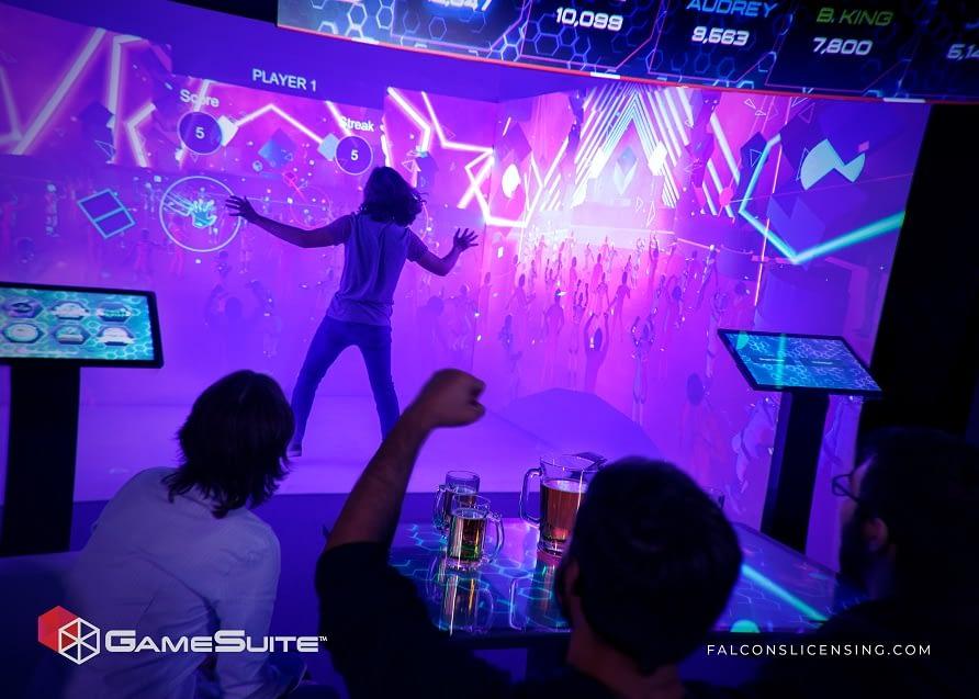 Boy in virtual gaming booth