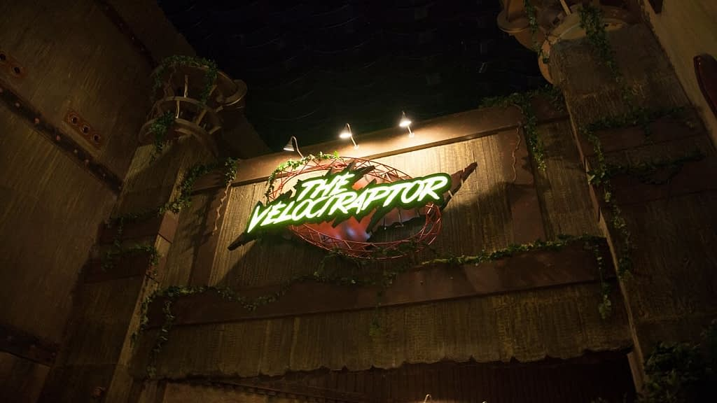 The Velociraptor Roller Coaster entrance
