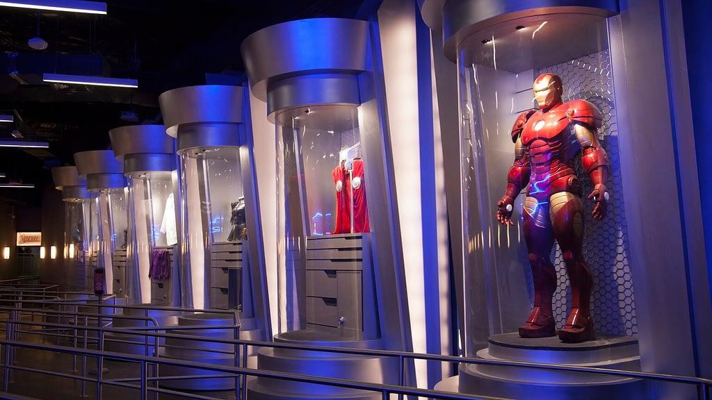 Marvel theme park ride queue